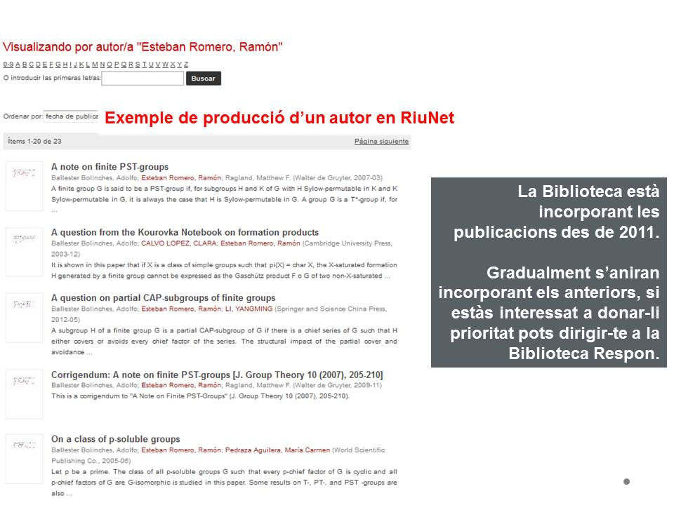 Producció autor RiuNet