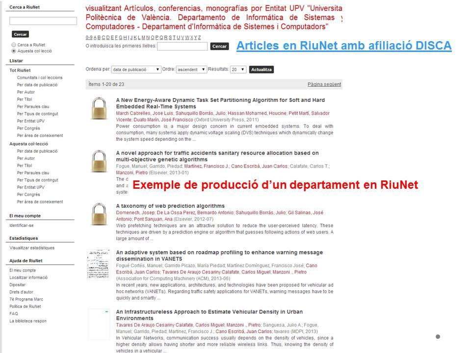 Producció departament en RiuNet