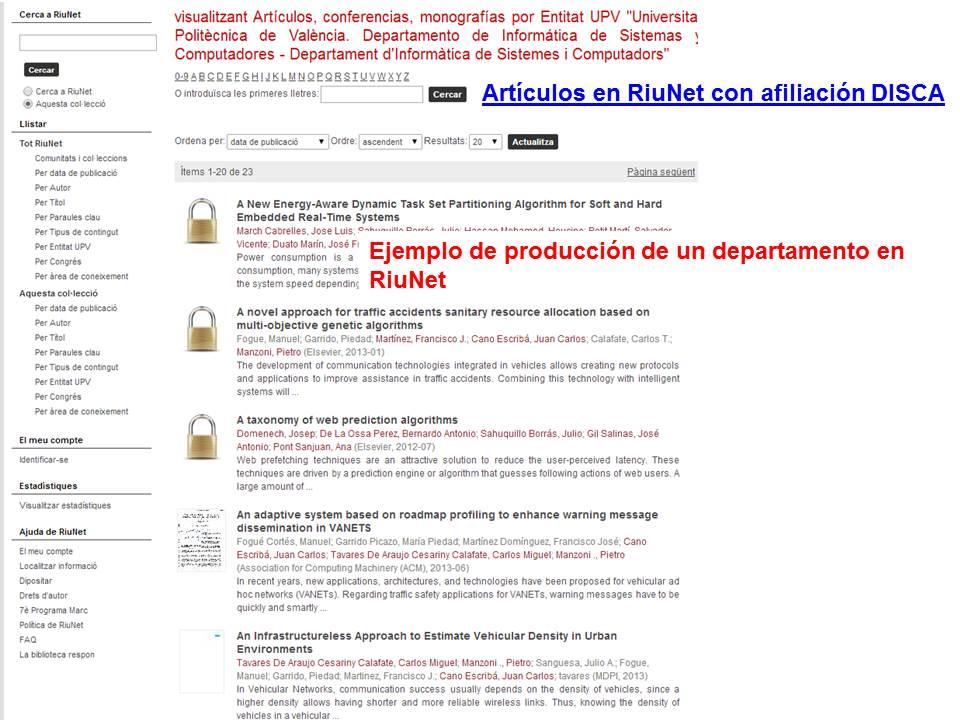 Producción departamento en RiuNet