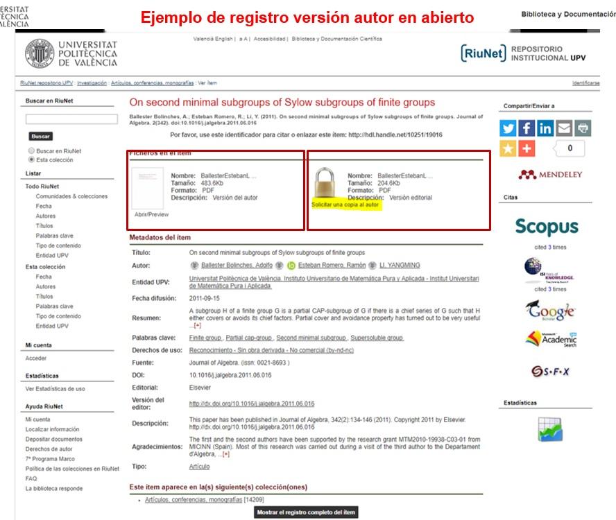 Versión editoral cerrada y versión de autor